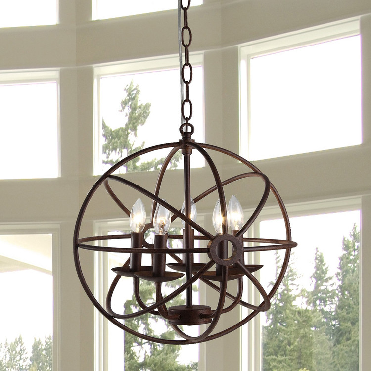 Warehouse of Tiffany D6606-5 Theo Rust Chandelier