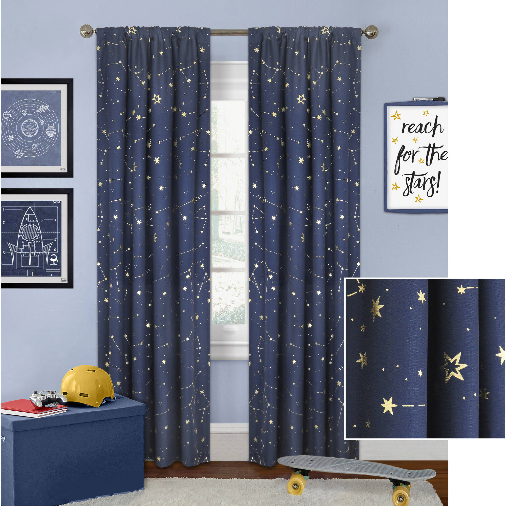 Better Homes and Gardens Night Sky Gold Metallic Curtain Panel