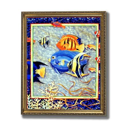 Exotic Tropical Ocean Fish # 3 Wall Picture Gold Framed Art Print Art Com Tropical Print