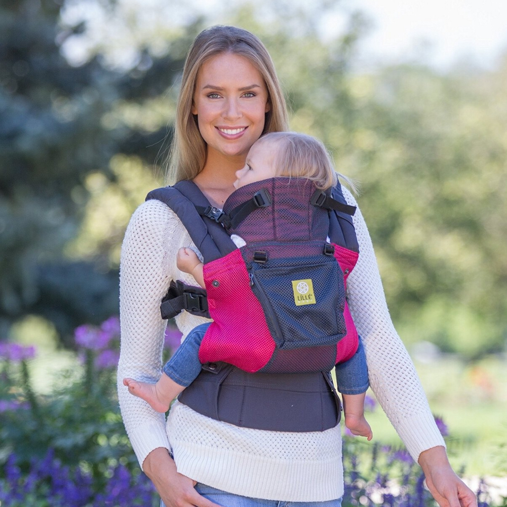 Click here to buy LILLEbaby Airflow Baby Carrier Charcoal with Berry by lillebaby.