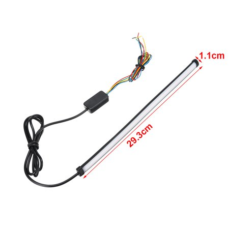 12 inch Universal 12V Motorcycle Sequential Switchback Flowing LED Tail Brake Turn Signal Strip Lights Tube,Dual Color Red/Amber Switchback  - image 6 of 6