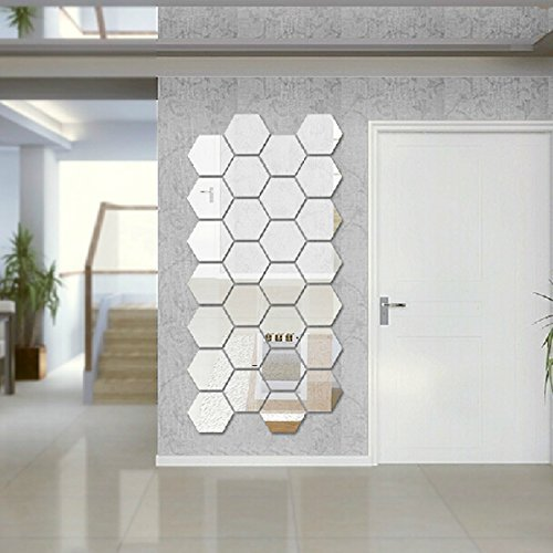 12Pcs Wall Sticker Hexagonal 3D Mirror DIY Self-adhesive Home Decor Art Decals