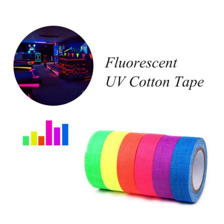 6Pcs UV Blacklight Neon Tape,Home Decor Fluorescent Cloth Reactive Gaffer Tape,Glow In The Dark Cotton UV Tape