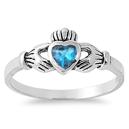 Gift of the Claddagh Blue Simulated Topaz Cubic Zirconia Ring Sterling Silver (Blue Topaz Claddagh Ring)