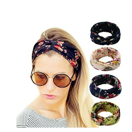 4 Pack Women's Headbands Elastic Turban Head Wrap Floal Style Hair Band - Dreadlocks Headband