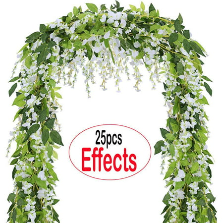 Flowers Faceplate - Coolamde 4Pcs Artificial Flowers 6.6ft Silk Wisteria Ivy Vine Green Leaf Hanging Vine Garland for Wedding Party Home Garden Wall Decoration White
