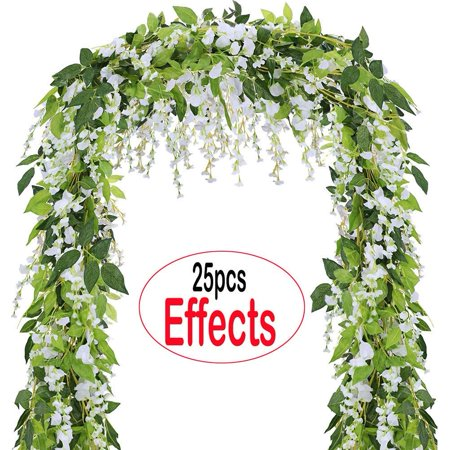 Coolamde 4Pcs Artificial Flowers 6.6ft Silk Wisteria Ivy Vine Green Leaf Hanging Vine Garland for Wedding Party Home Garden Wall Decoration White