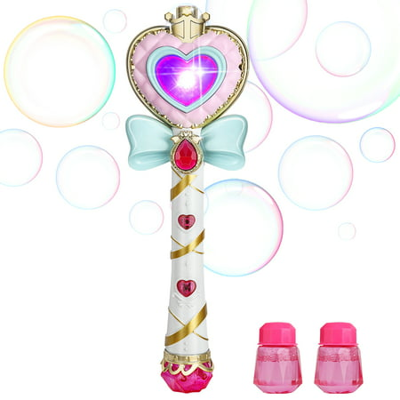 WisToyz Crystal Princess Magic Bar Bubble Wand Bubble Stick Automatic Bubble Gun Machine Wand For Kids W/ Light Music Bow Tie Girls Cute Toy