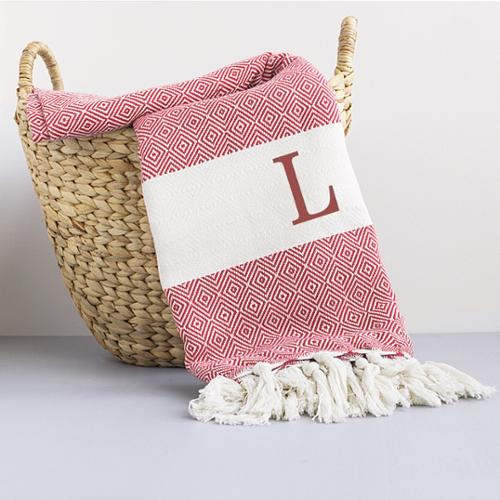 Personalized Red Turkish Throw Blanket W