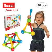 Goobi Juniors 40 Piece Magnetic Construction Set | STEM Learning | Educational Building Toy | Assorted Colors