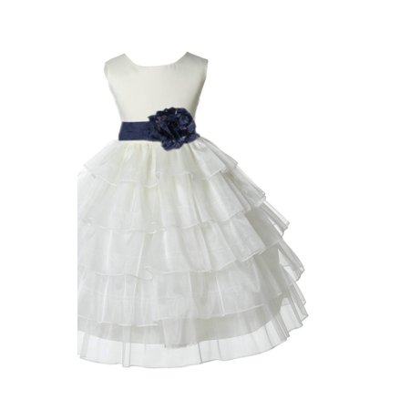 Ekidsbridal Ivory Shimmering Tiered Organza Christmas Party Formal Bridesmaid Recital Easter Holiday Wedding Pageant Communion Princess Birthday Clothing Toddler Baptism 308S Flower Girl -