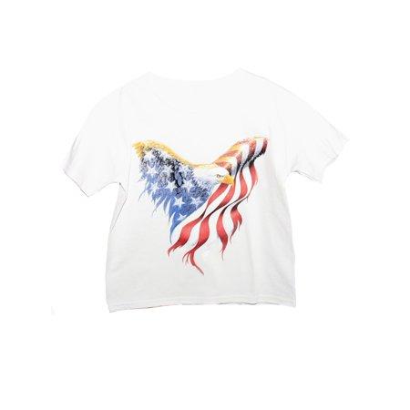 Amercian Eagle Kids (Unisex Little Kids White American Eagle Print Short Sleeve Cotton)