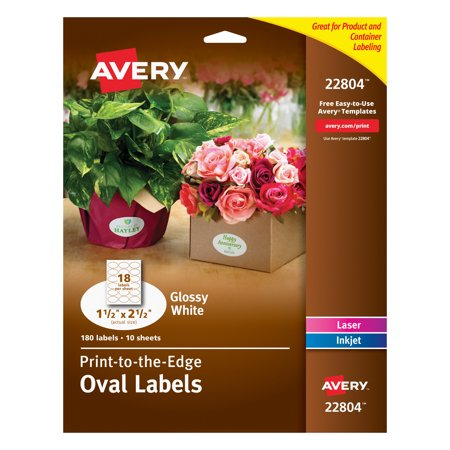 Avery Easy Peel Labels, True Print, Print to the Edge, Glossy, Oval, 1-1/2