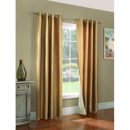 (#32) Hotel Quality SILVER Grommet Top, FAUX SILK 1 PANEL GOLD SOLID THERMAL FOAM LINED BLACKOUT HEAVY THICK WINDOW CURTAIN DRAPES  GROMMETS 84