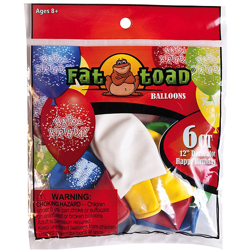 "Fat Toad Deco Latex Balloons 12"" 6/Pkg-Birthday Confetti"