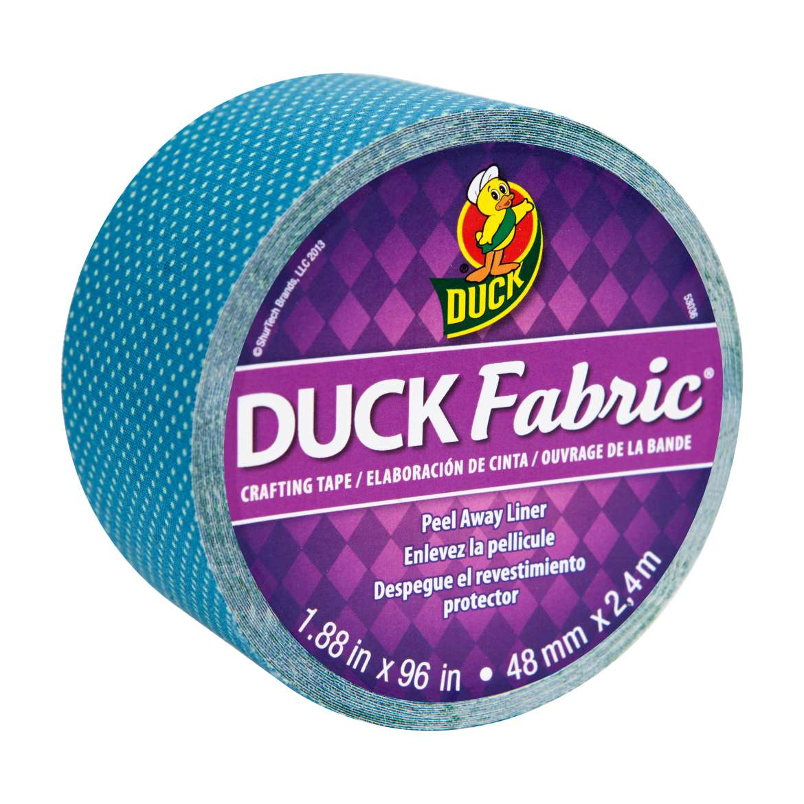 "Duck Brand Fabric Tape, 1.88"" x 96 inches, Blue Dot"