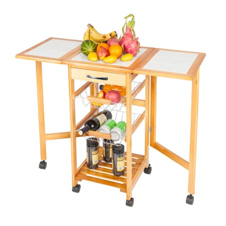 Color Story Kitchen Island - Ktaxon Rolling Portable Kitchen Island Storage Drawers Baskets Trolley Cart Stand