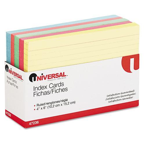 Universal Index Cards, 4 x 6, Blue/Salmon/Green/Cherry/Canary, 100 per Pack (Set of 3) (Set of 2)