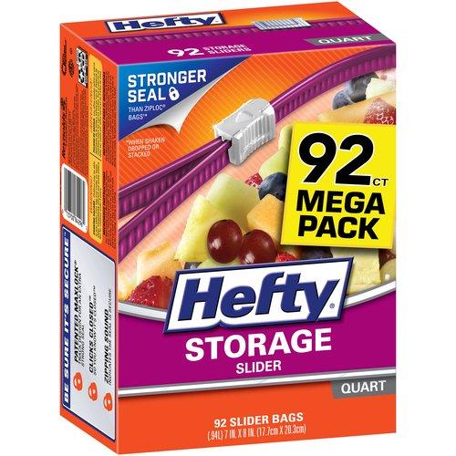 Hefty Slider Storage Bags, Quart, 92 Ct