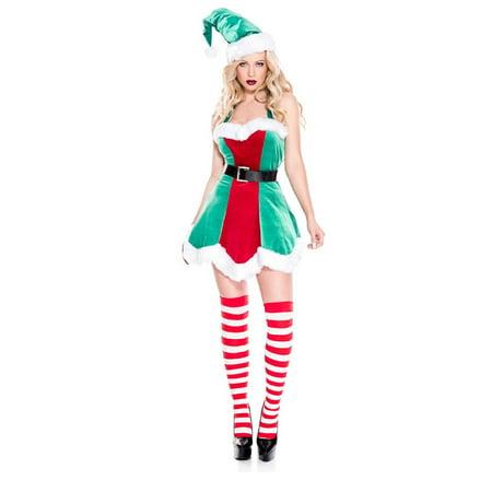 Music Legs North Pole Santa's Little Helper Sexy Elf Women's Costume Dress XS-XL - image 1 of 1