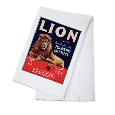 Lion Lettuce - Vintage Label (100% Cotton Kitchen Towel) (Linen Vintage Towel)