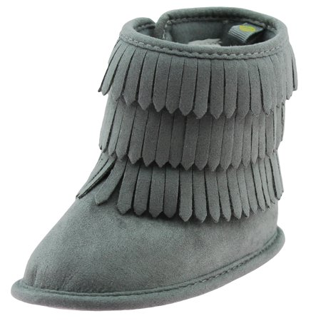 First Steps Fringe Moccasin Baby Girl Boots Winter Micro Suede Booties Grey Cute Newborn Prewalkers Size 2 (3-6