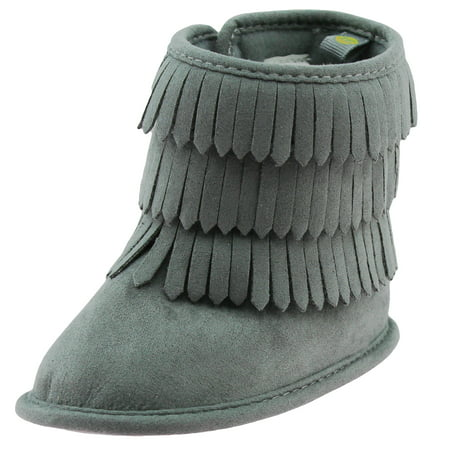 3c2de6beca35 Stepping Stones - First Steps Fringe Moccasin Baby Girl Boots Winter Micro  Suede Booties Grey Cute Newborn Prewalkers Size 3 (6-9 Months) - Walmart.com