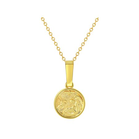 18k Gold Plated Guardian Angel Medal Necklace Newborn Baby Infant Birth Gift (18k Solid Gold)