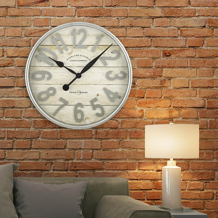 """Better Homes & Gardens Indoor 20"""" White and Galvanized Raised Arabic Farmhouse Wall Clock"""