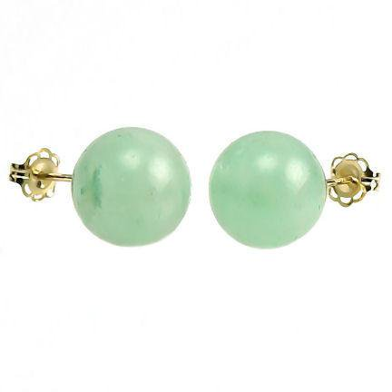 Aventurine Yellow Earrings - Trustmark 14K Yellow Gold 10mm Natural Green Jade Aventurine Ball Stud Earrings