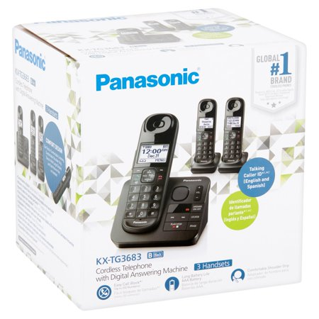 Refurbished Panasonic KX-TG3683 Cordless Telephone with 3 Handsets and Answering