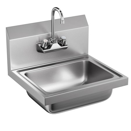 Costway Commercial Stainless Steel Wall Mount Hand Washing Wash Sink Basin with Faucet Elkay Hand Wash Sink