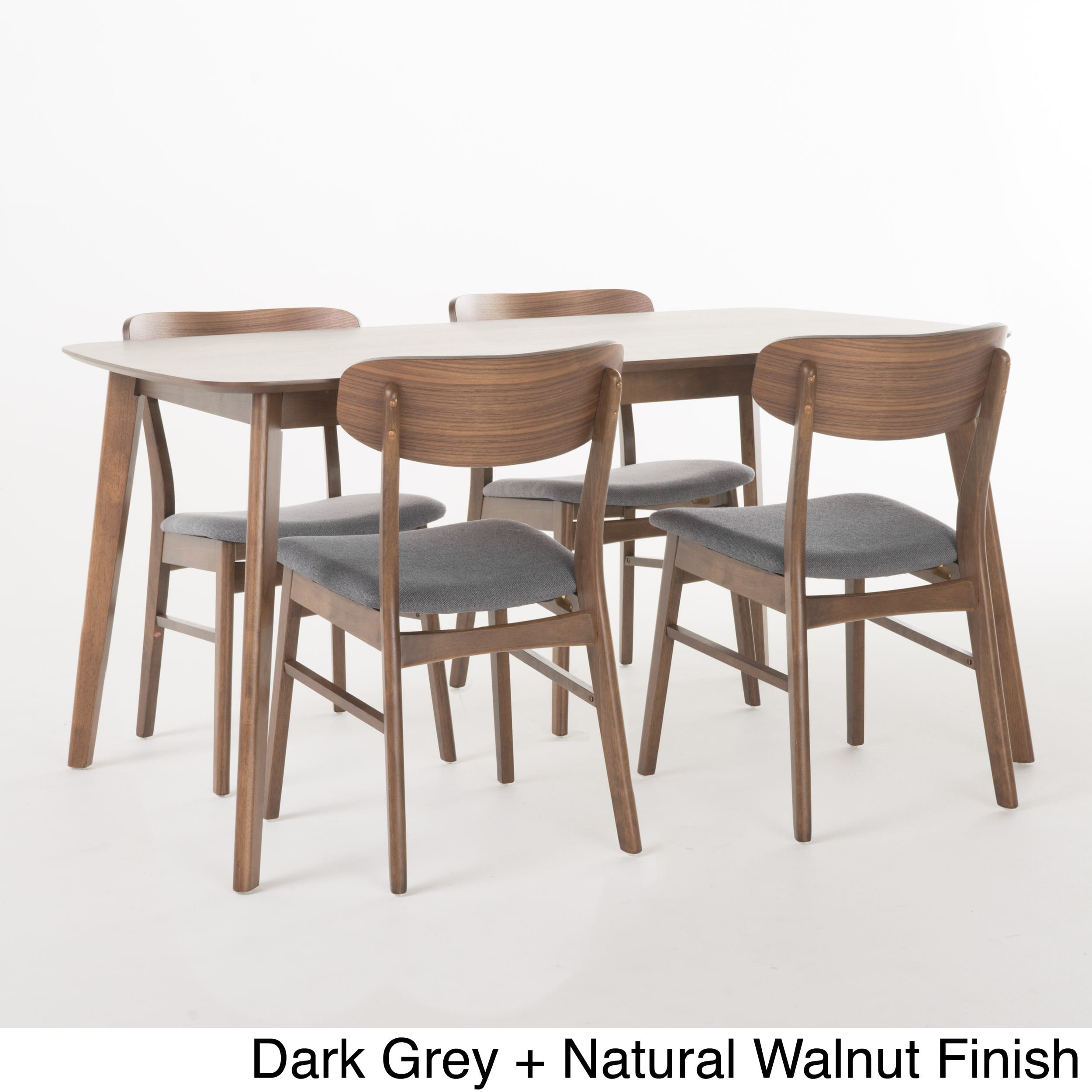 5-Pc Upholstered Midcentury Dining Table Set in Mint
