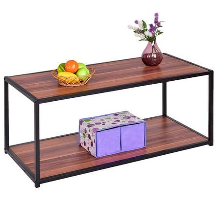 costway coffee table rectangle sofa side end table storage shelf living room furniture. Black Bedroom Furniture Sets. Home Design Ideas
