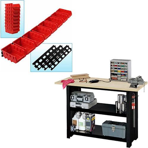 Garage Stalwart Wall Mounted Storage Bins and Stack-On Steel DIY Workbench Bundle