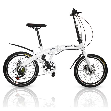 SUNCROWN Folding Bike 7-Speed 20-inch Carbon Steel Urban Commuter Bicycle (Best Urban Commuter Bike)