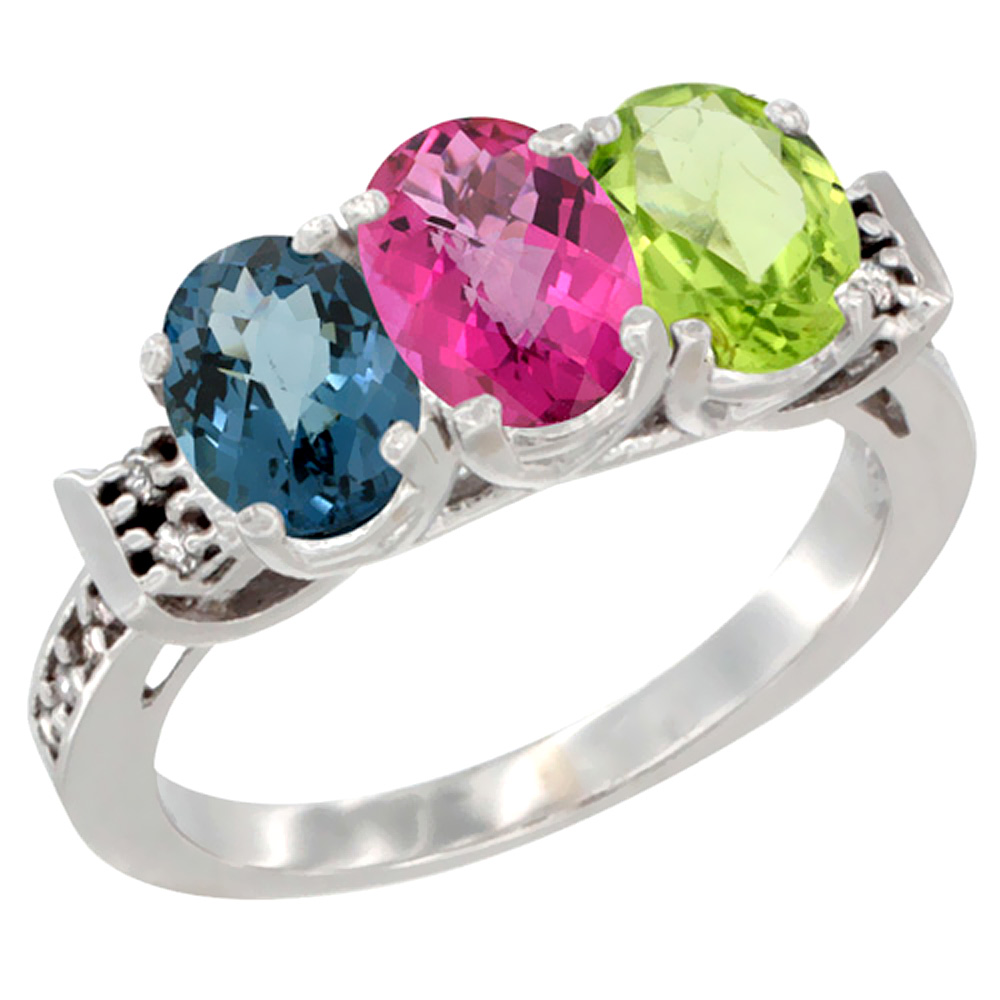 10K White Gold Natural London Blue Topaz, Pink Topaz & Peridot Ring 3-Stone Oval 7x5 mm Diamond Accent, sizes 5 10 by WorldJewels