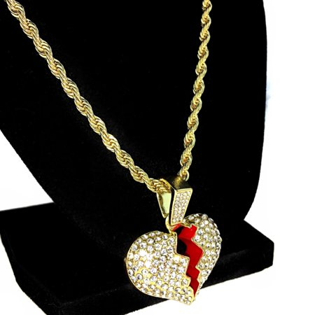 Broken Heart Pendant Chain Heartbroken Hip Hop Charm Gold Finish 24
