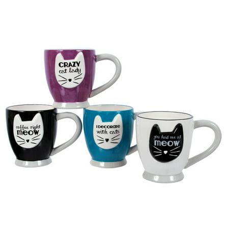 DEI Mr. Snugs 4 Piece Cat Sayings Embossed Teacup Mug Set - Walmart.com