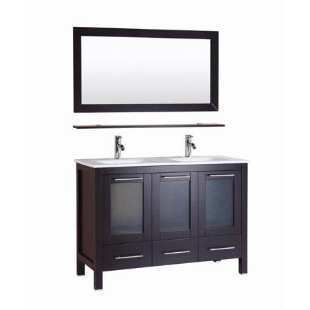 online store 37a3d e4b6f Monroe- 48 inch Freestanding Modern Espresso Double Sink Bathroom Vanity w/  Stone Top