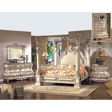Mcferran B9087 Monaco Luxury White Finish Eastern King Size Bedroom ...
