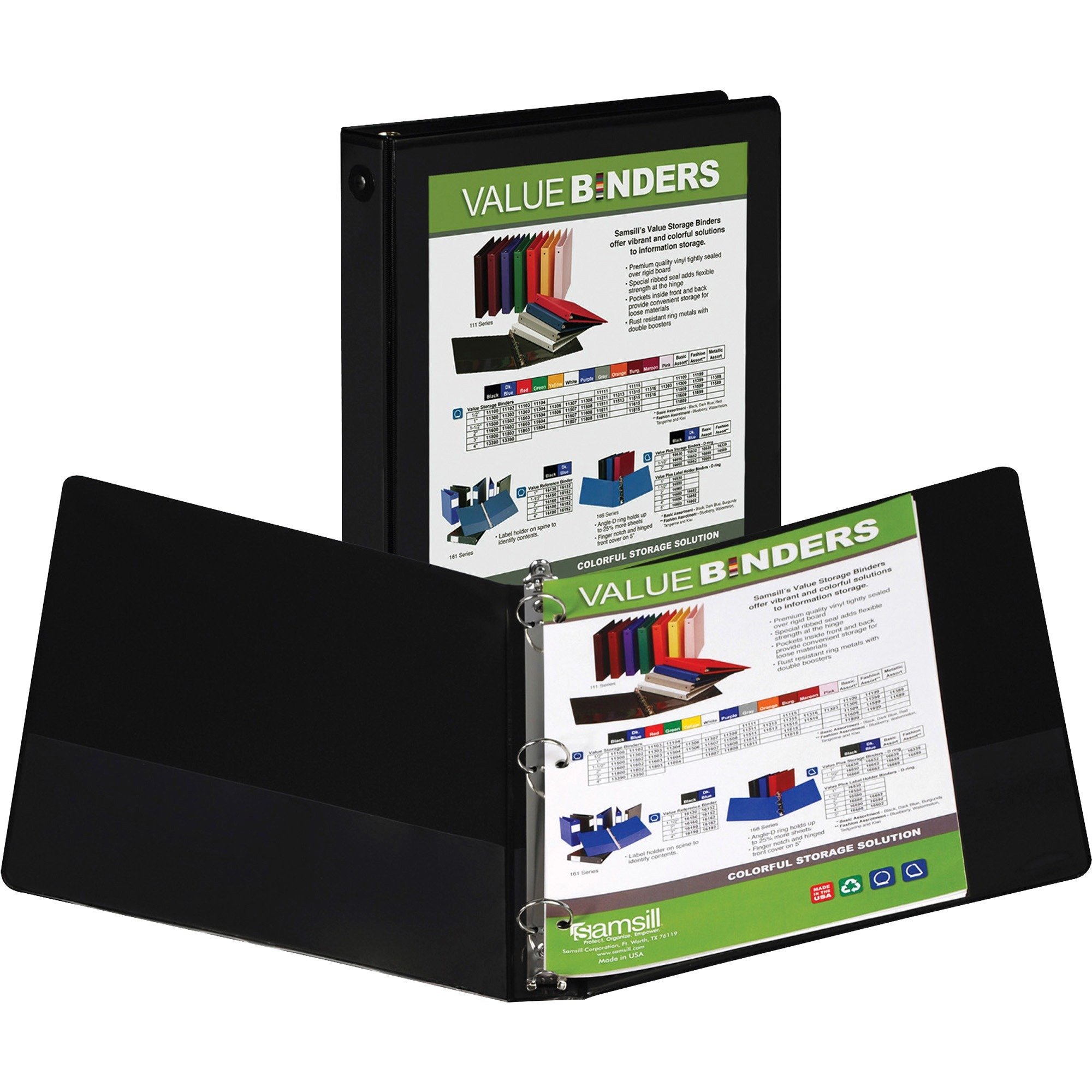 Samsill Economy Round Ring View Binders, Black, 1 Each (Quantity)