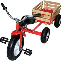 North American Tool 53498 Retro Tricycle With Wagon, Red, Steel