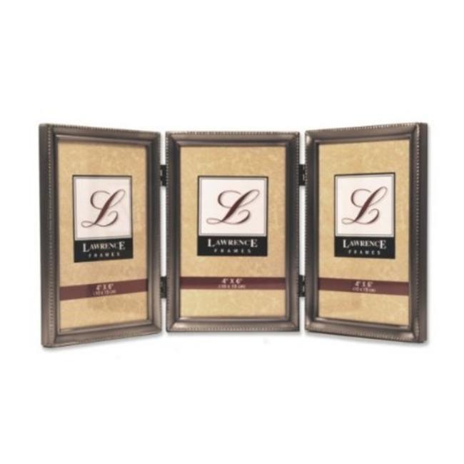 Lawrence Frames Antique Pewter Hinged Triple Picture Frame - Bead Border Design