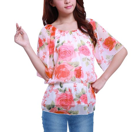 Flower Print Elastic Scoop Neck Chiffon Blouse for Women