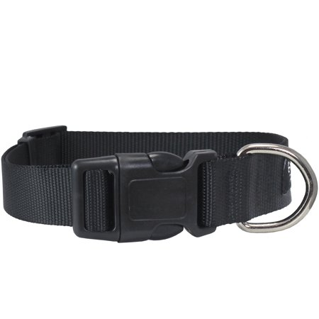 Classic Quick Release (Classic Strong Solid Black Color Adjustable Quick Release Nylon Dog Collar 3)