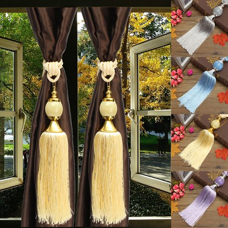 (Moaere 1 Pair  Beaded Tassels Tieback Curtain Cord Home Textiles Window Treatments Deal of the day)