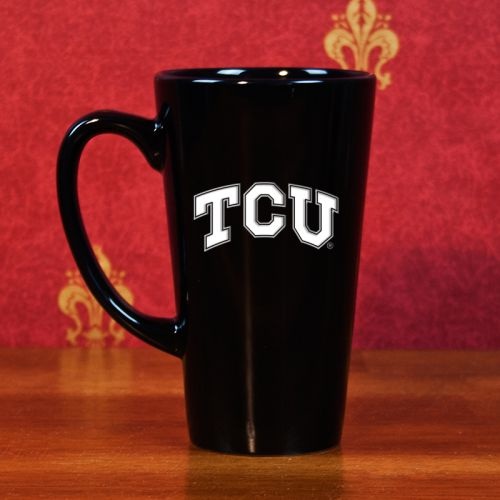 NCAA - TCU Horned Frogs 16 oz Deep Etched Black Ceramic Java Mug