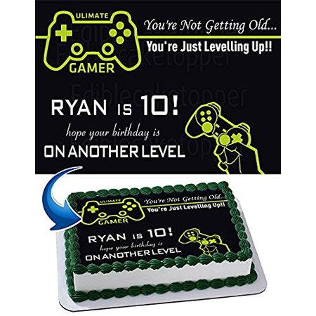 Gamer Edible Cake Topper Personalized Birthday 1/4 Sheet Decoration Custom Sheet Party Birthday Sugar Frosting Transfer Fondant Image Edible Image for cake (Custom Decorations)