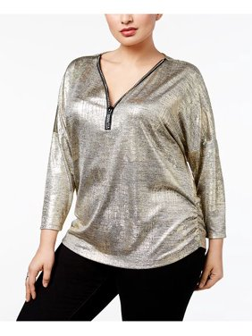 89db28b60b7 Product Image JM Collection Women s Silver Plus Size Metallic Top